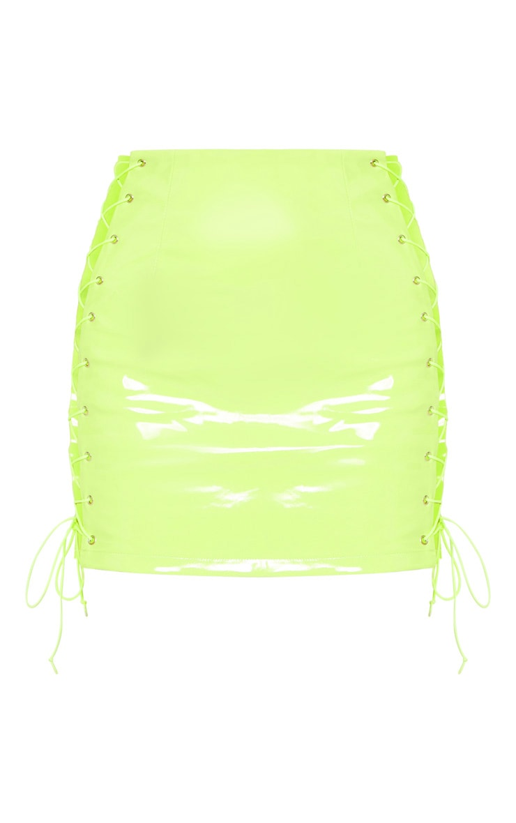 Neon Lime Vinyl Lace Up Side Mini Skirt 3