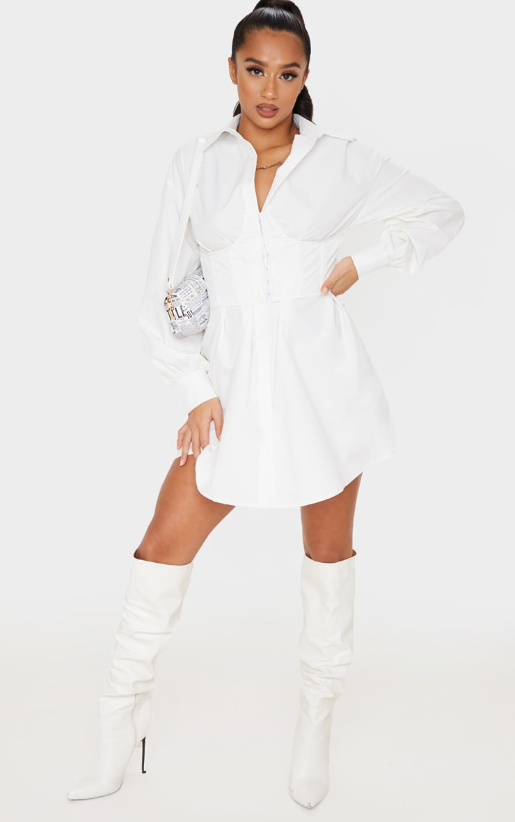 Petite White Corset Detail Long Sleeve Shirt Dress
