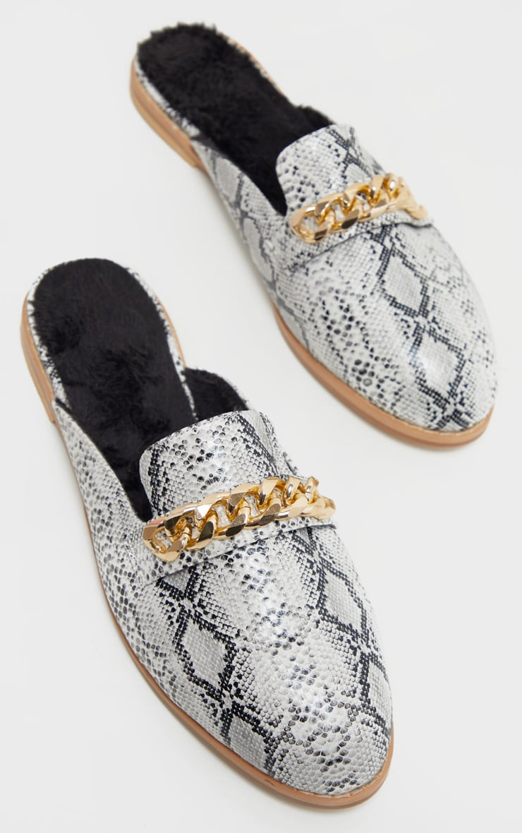 Snake Faux Fur Lined Chunky Chain Mule Flat 3