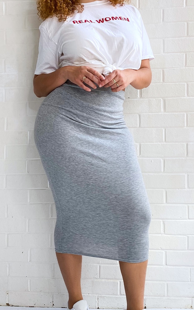 Plus Grey Marl Ultimate Jersey Longline Midi Skirt 4