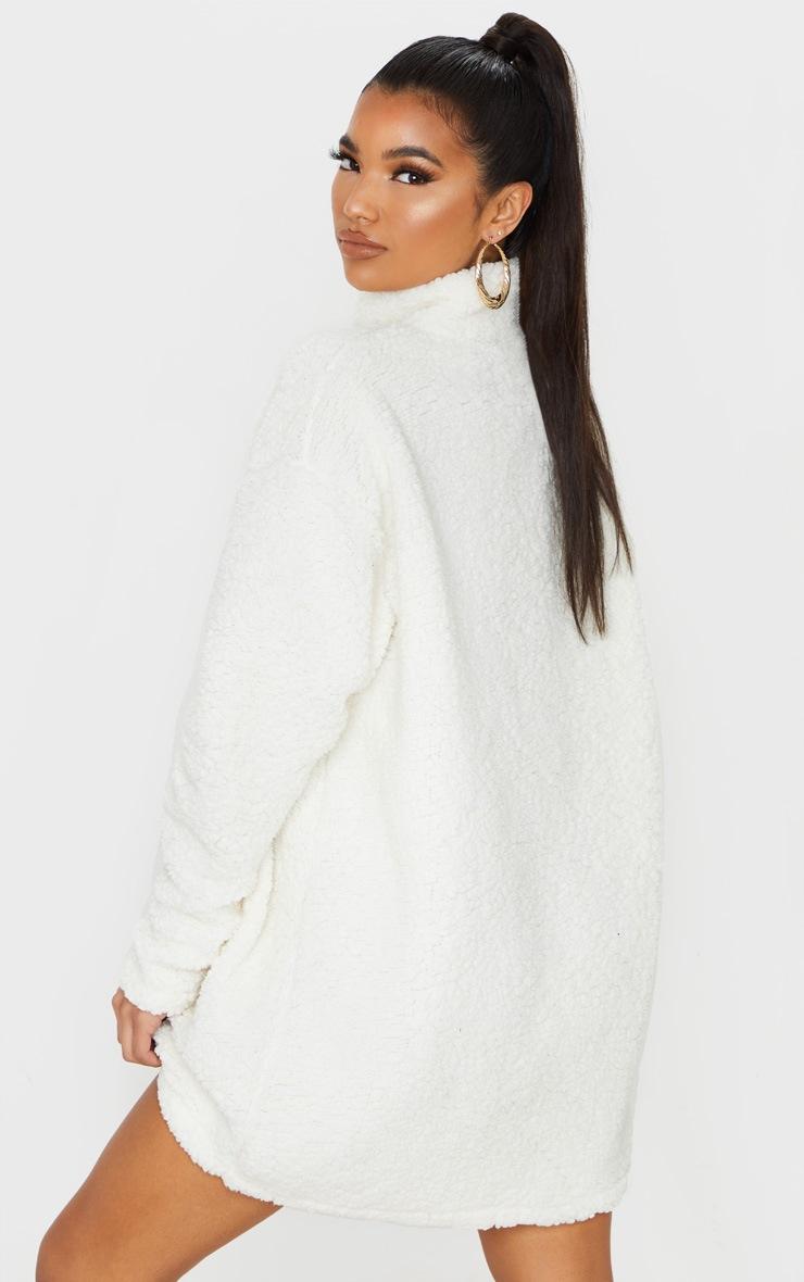 Cream Oversized Borg Zip Neck Jumper Dress 2