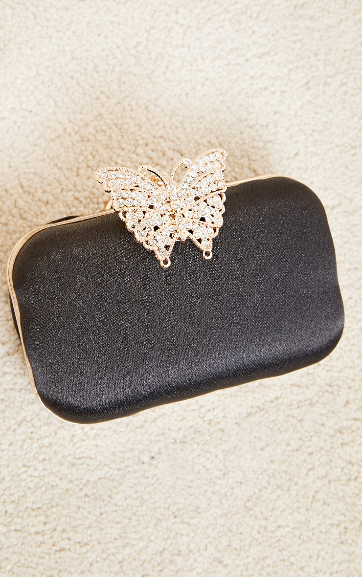 Black Satin Diamante Butterfly Clutch Bag 3