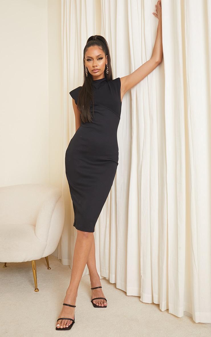 Black Shoulder Pad Underbust Binding Sleeveless Midi Dress 1