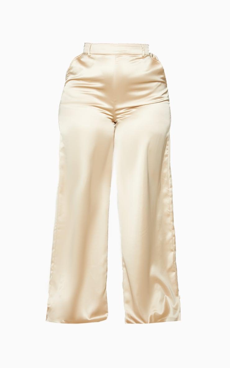 Plus Champagne Wide Leg Satin Trousers 5