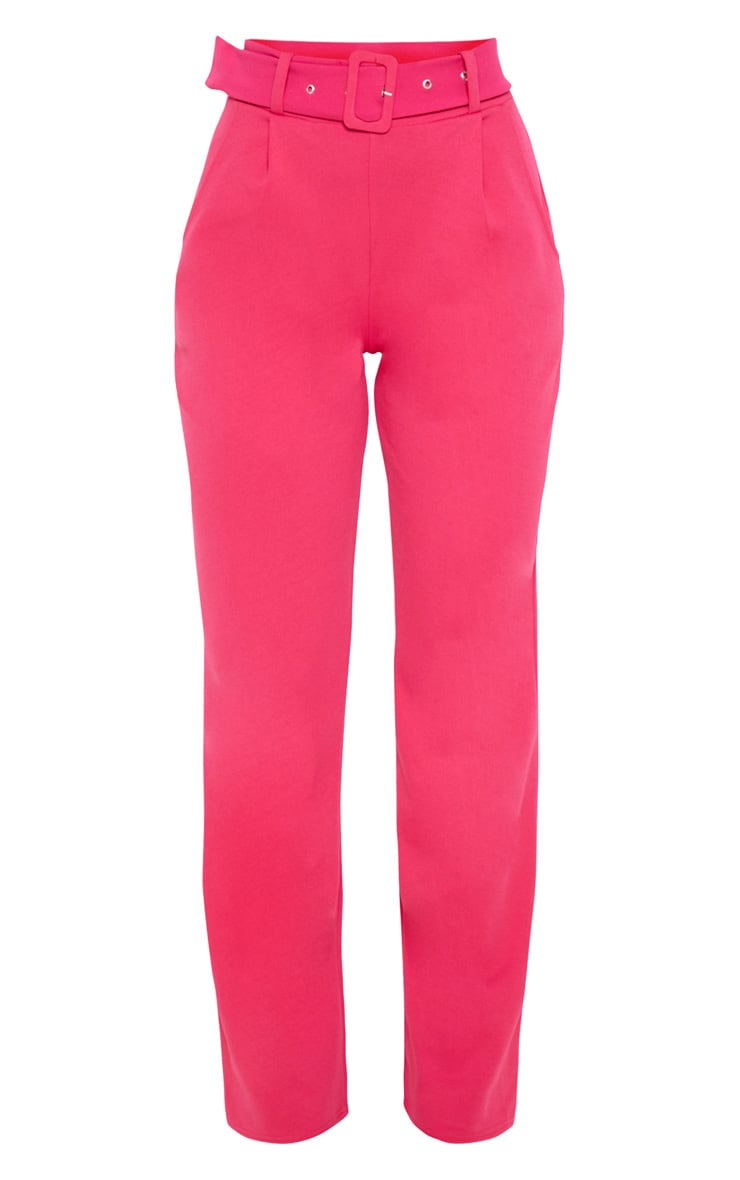 Pink Belted Straight Leg Pants 3
