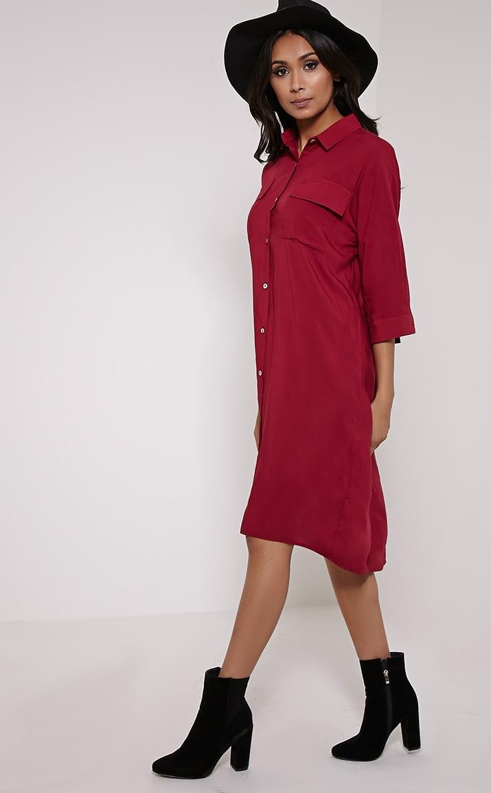 Perrin Berry Longline Shirt Dress 3