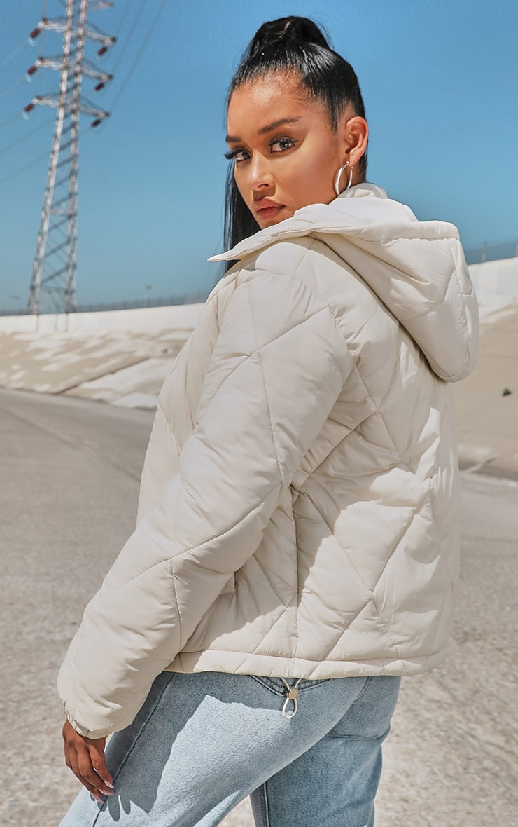 Stone Nylon Diamond Quilted Hooded Puffer Jacket 2