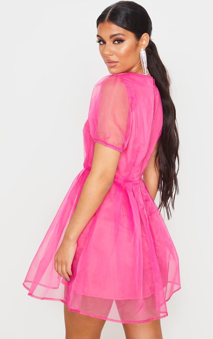 Hot Pink Organza Puff Sleeve Skater Dress 2