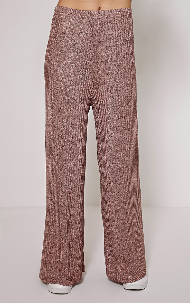 Nora Bronze Metallic Rib Flared Trousers 2