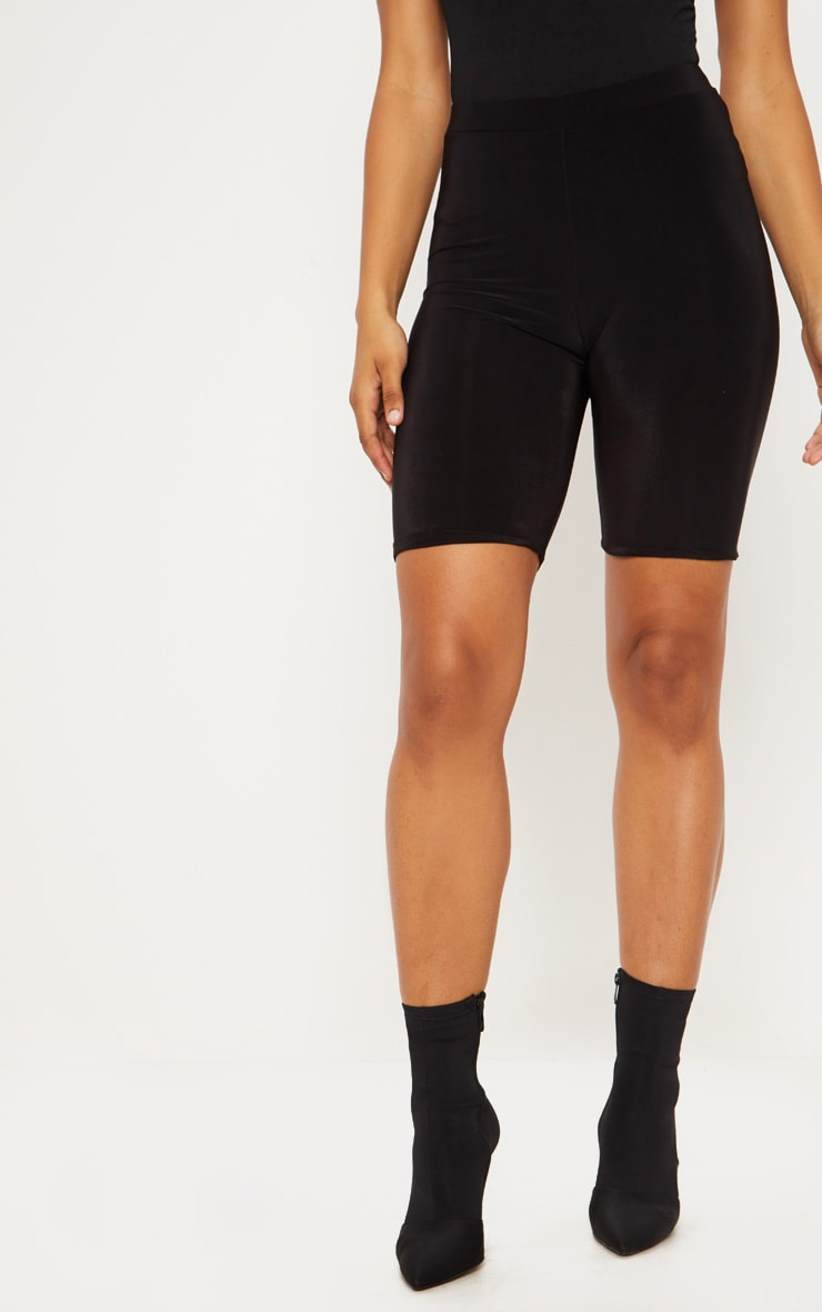 Tall Black Slinky High Waisted Bike Shorts 2
