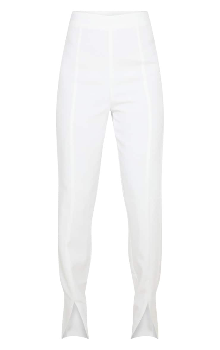 Petite Cream Split Hem Woven Suit Pants 3