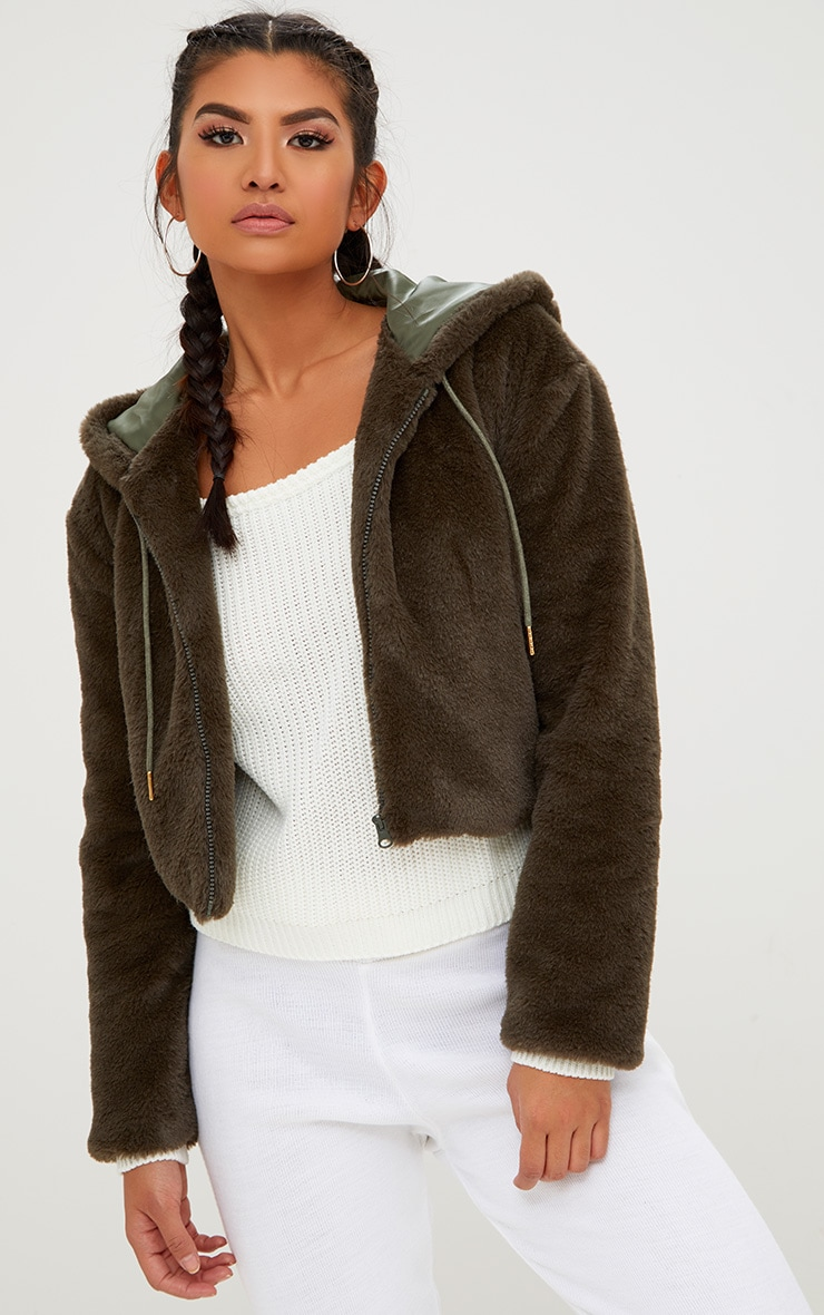 Khaki Cropped Faux Fur Jacket With Hood 1