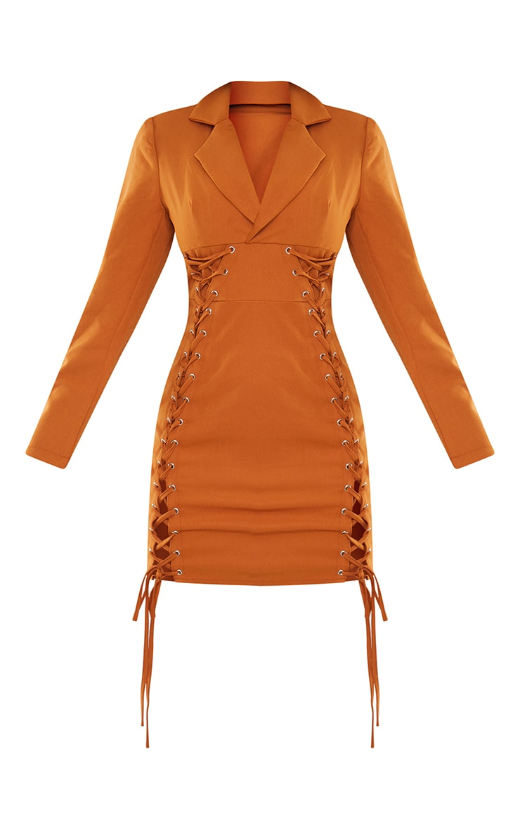 Rust Double Lace Up Detail Blazer Style Bodycon Dress 5