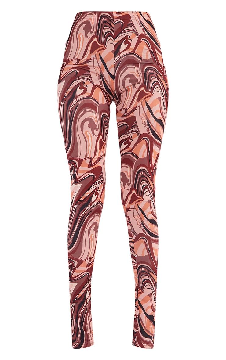 Tall Brown Swirl Split Hem Leggings 5