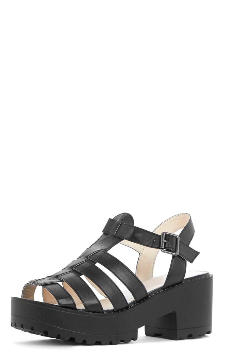 Nini Black Cut Out Cleated Shoe  4