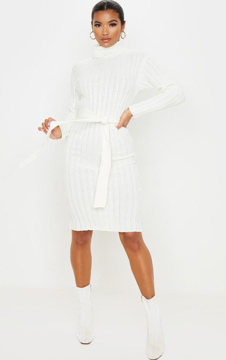 Cream Belted Rib Knit Midi Dress 1