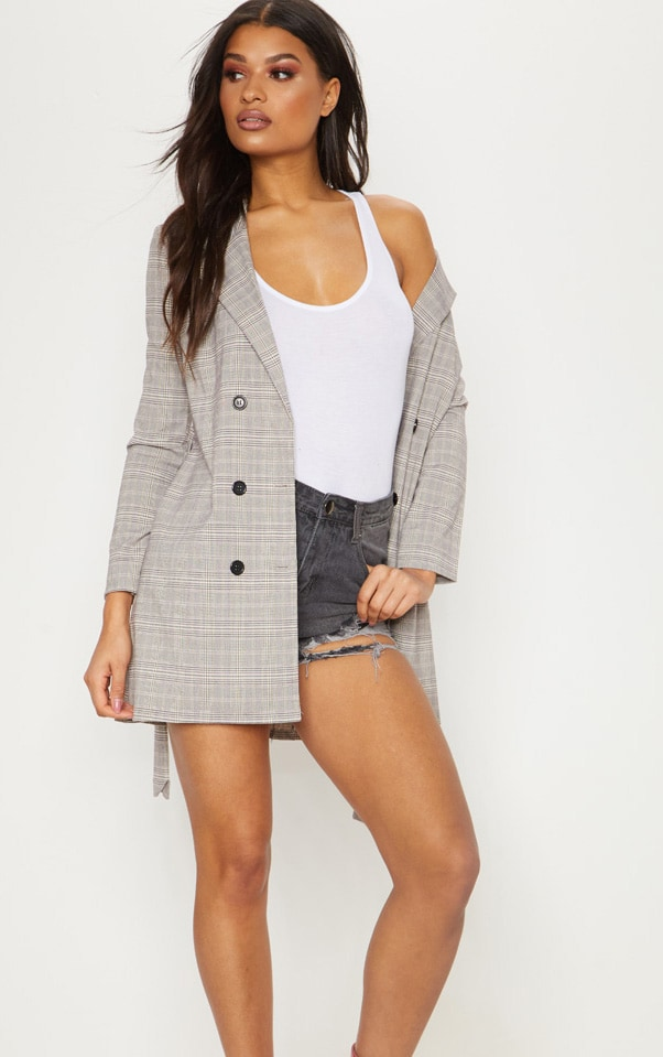 Grey Checked Oversized  Blazer  4