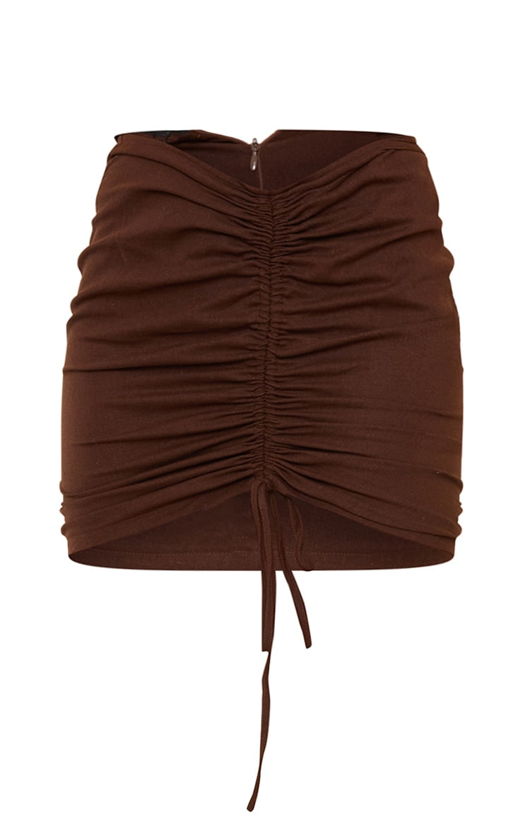 Plus Chocolate Brown Ruched Mini Skirt 6