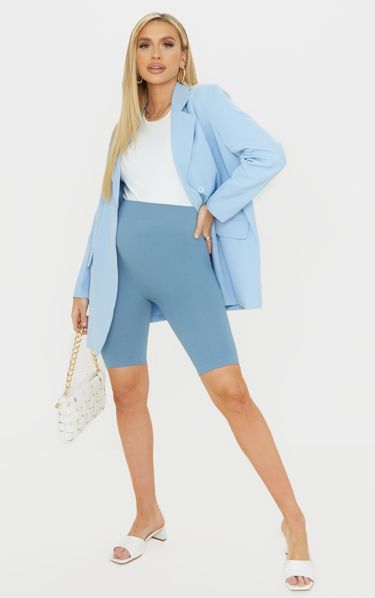 Maternity Blue Contour Ribbed Bump Support Bike Shorts