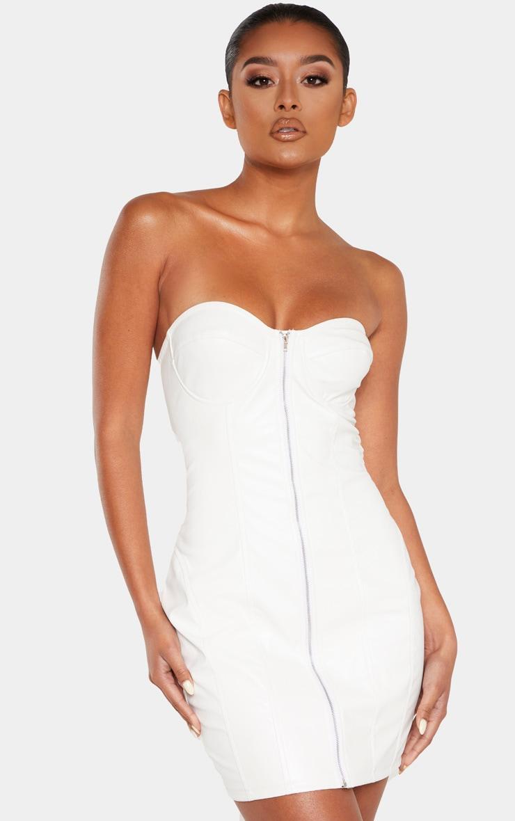 White Faux Leather Cup Detail Zip Through Bodycon Dress 1