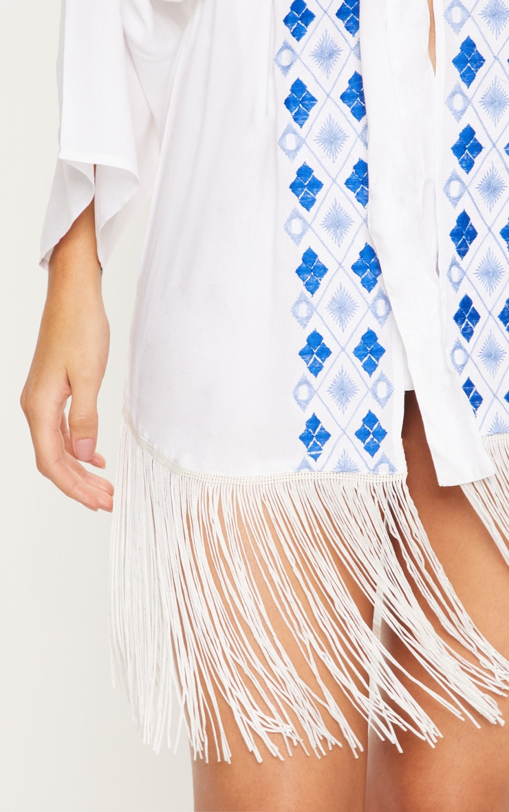 White Embroidered Wide Sleeve Tassel Trim Belted Kimono 5