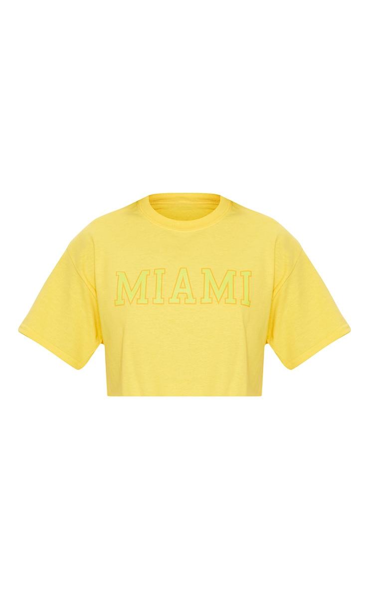 Yellow Miami Slogan Cropped T Shirt 3