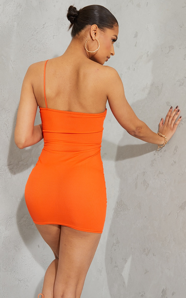 Orange Ribbed One Shoulder Spaghetti Strap Bodycon Dress 2