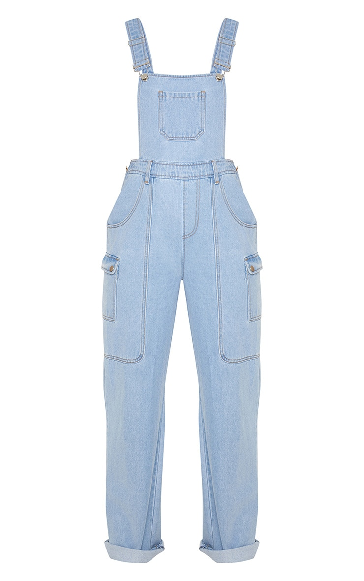 Light Wash Denim Wide Leg Dungarees 4