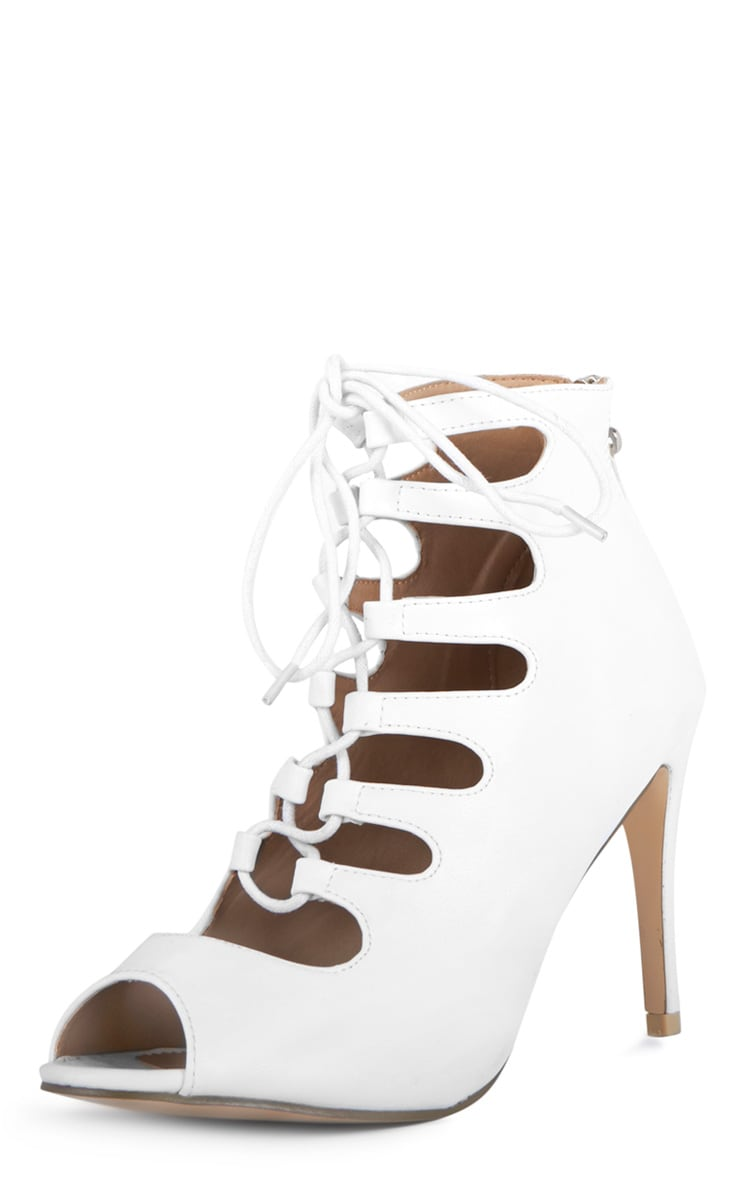 Rosalie White Lace Up Heeled Sandals  4