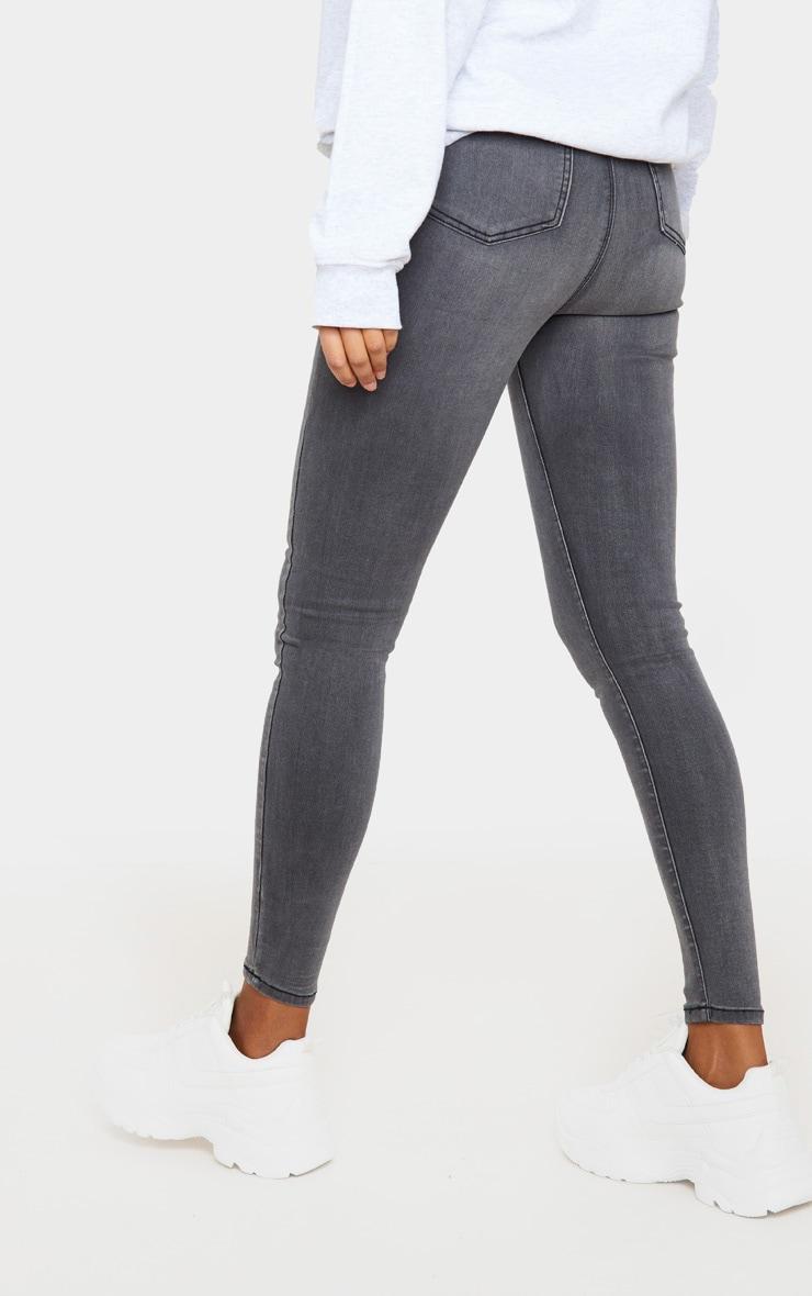 PRETTYLITTLETHING Grey Disco Skinny Jeans 4