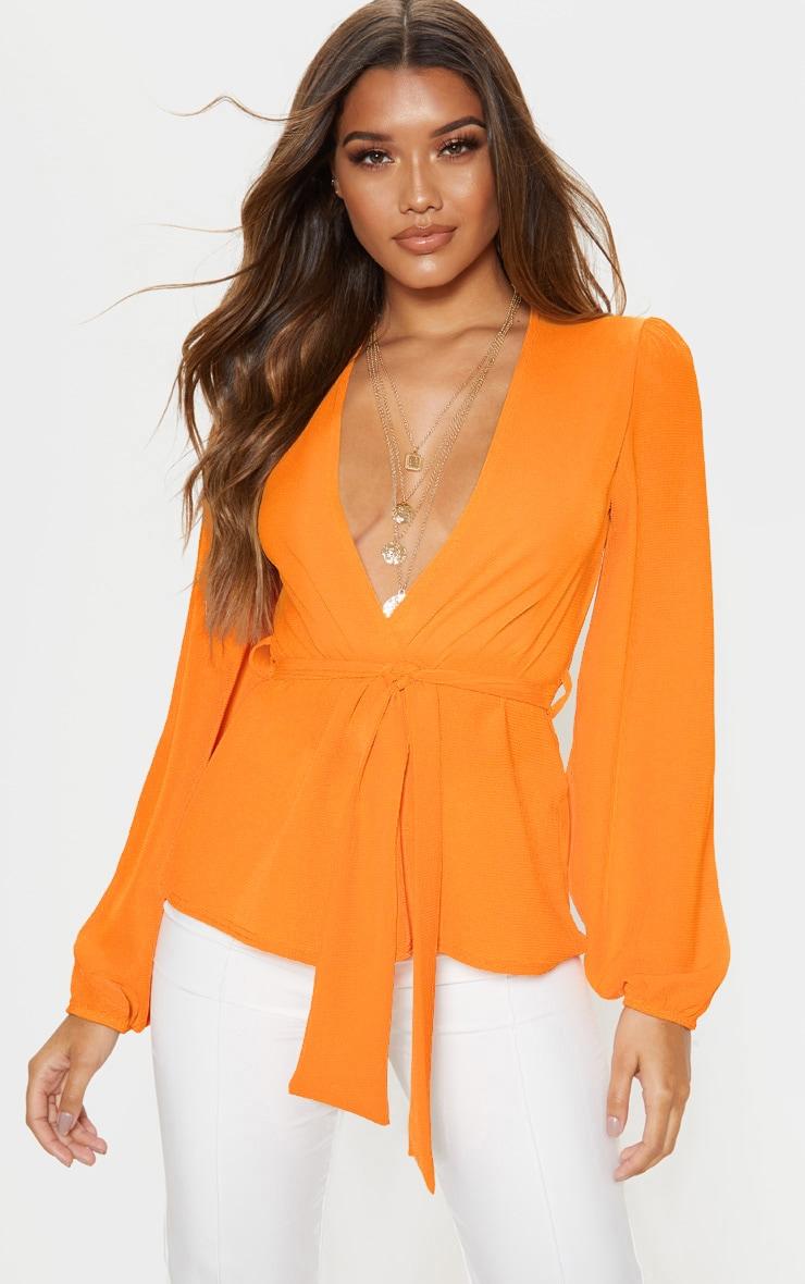 Orange Crepe Waist Belt Tie Long Sleeve Blouse 1