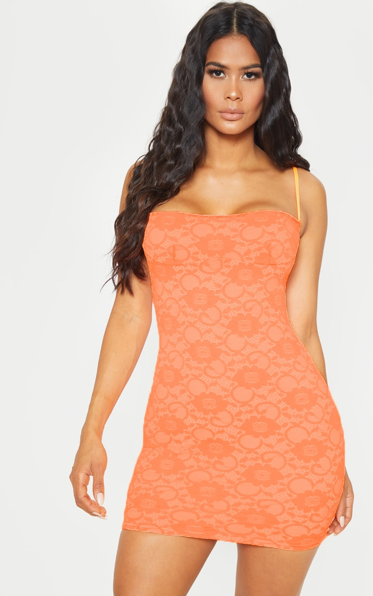 Orange Lace Cup Detail Strappy Bodycon Dress 1