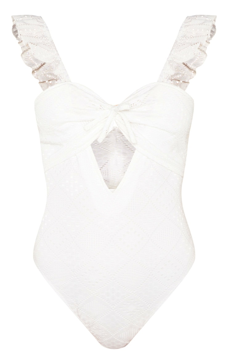 White Broderie Cut Out Detail Sleeveless Bodysuit 3
