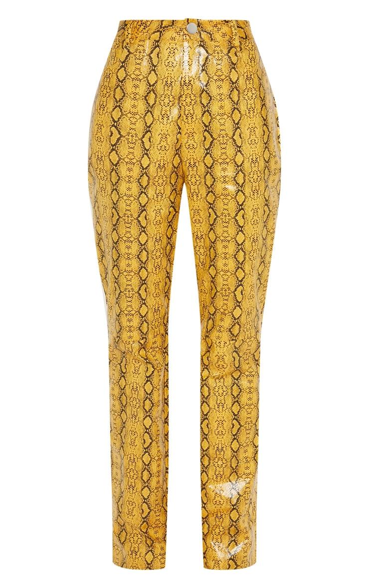 Mustard Faux Leather Snakeskin Straight Leg Pants 3