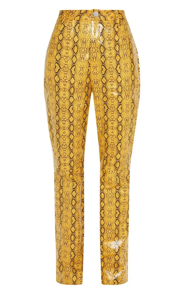 Mustard Faux Leather Snakeskin Straight Leg Trouser 3