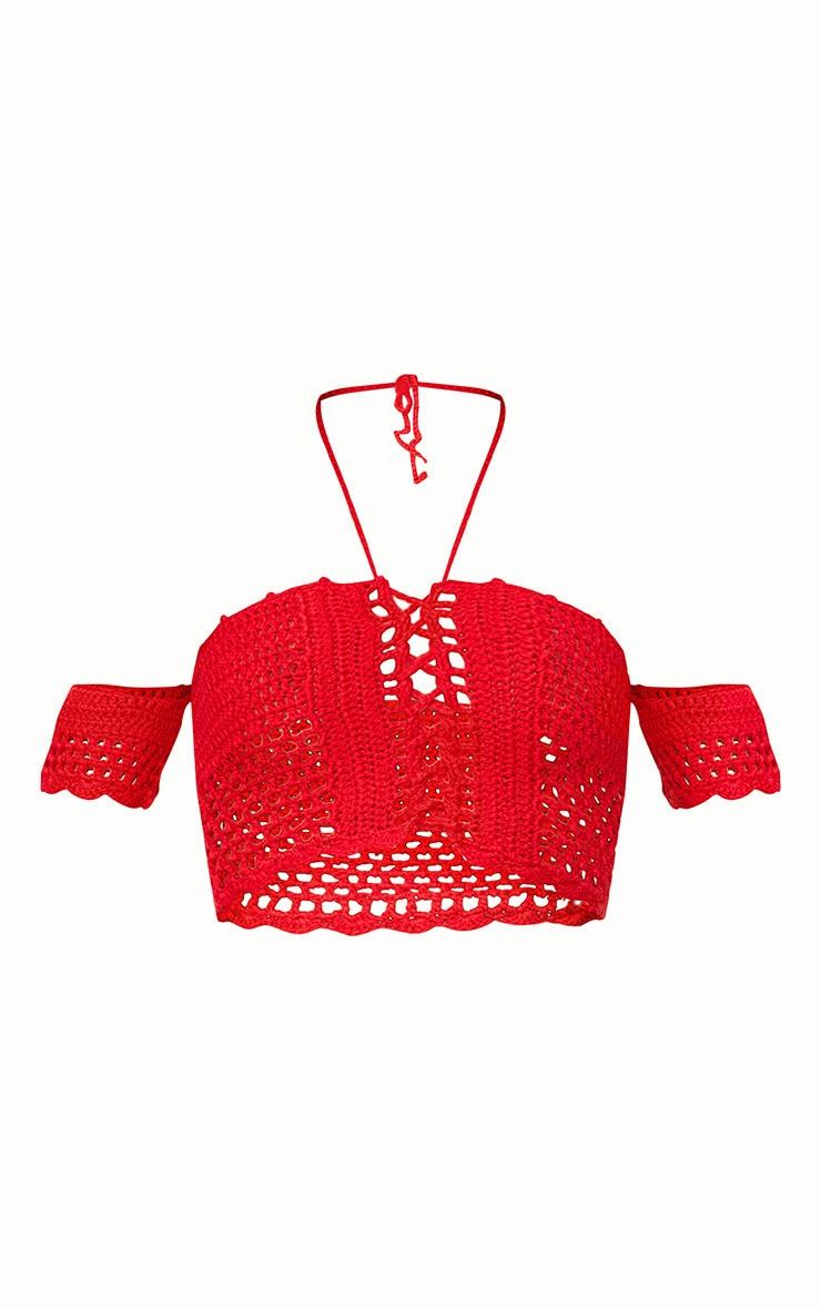 Red Bardot Crochet Tie Top 3