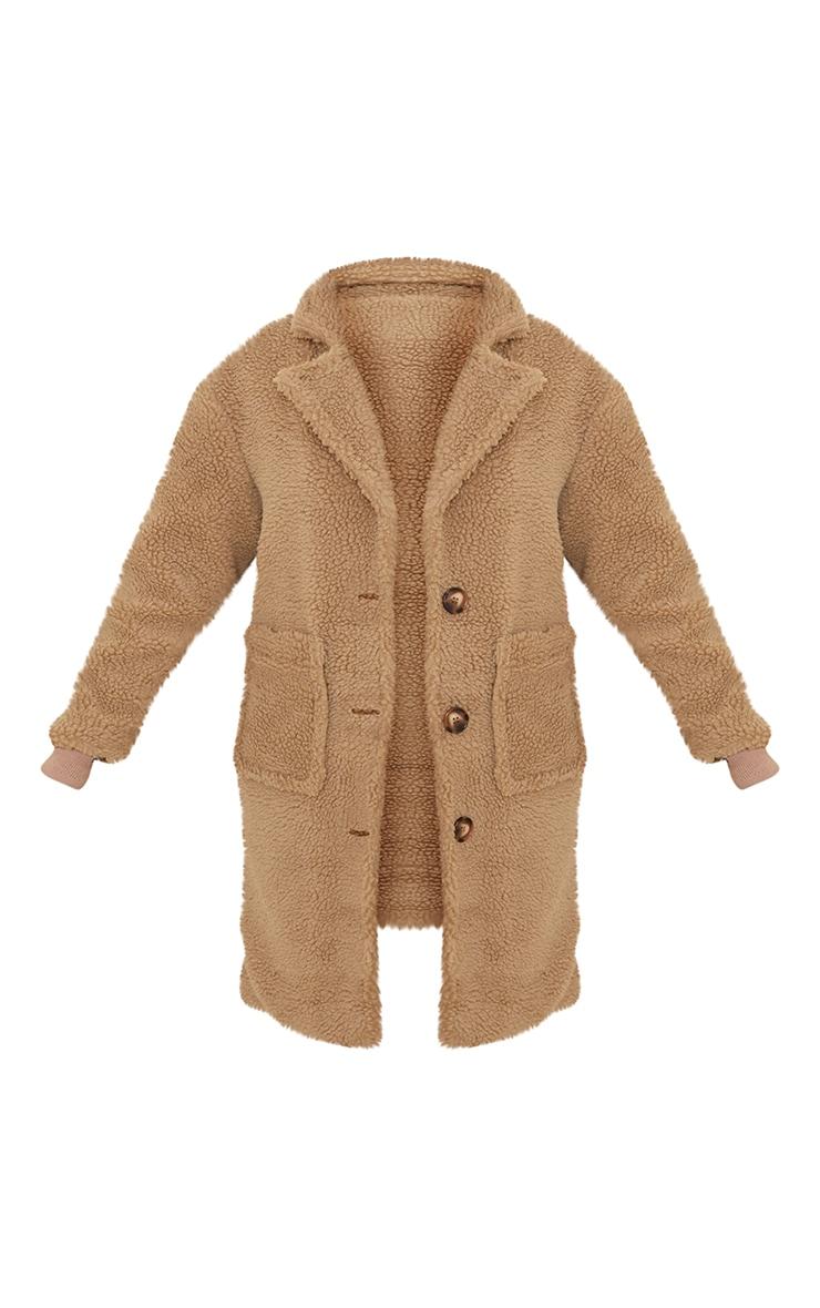 Manteau long camel en imitation peau de mouton 5
