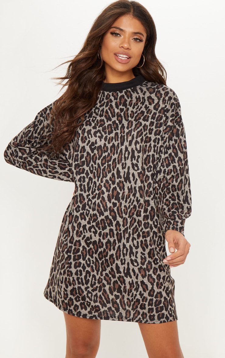 Brown Leopard Print Oversized Jumper Dress 1