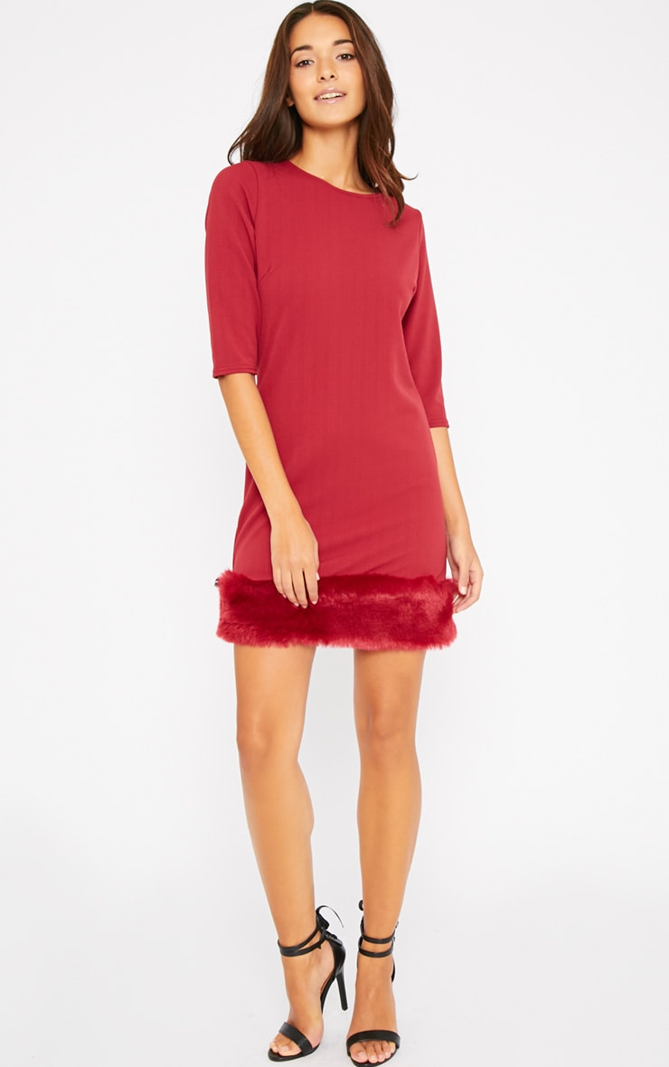 Yasmin Burgundy Fur Trim Dress 3