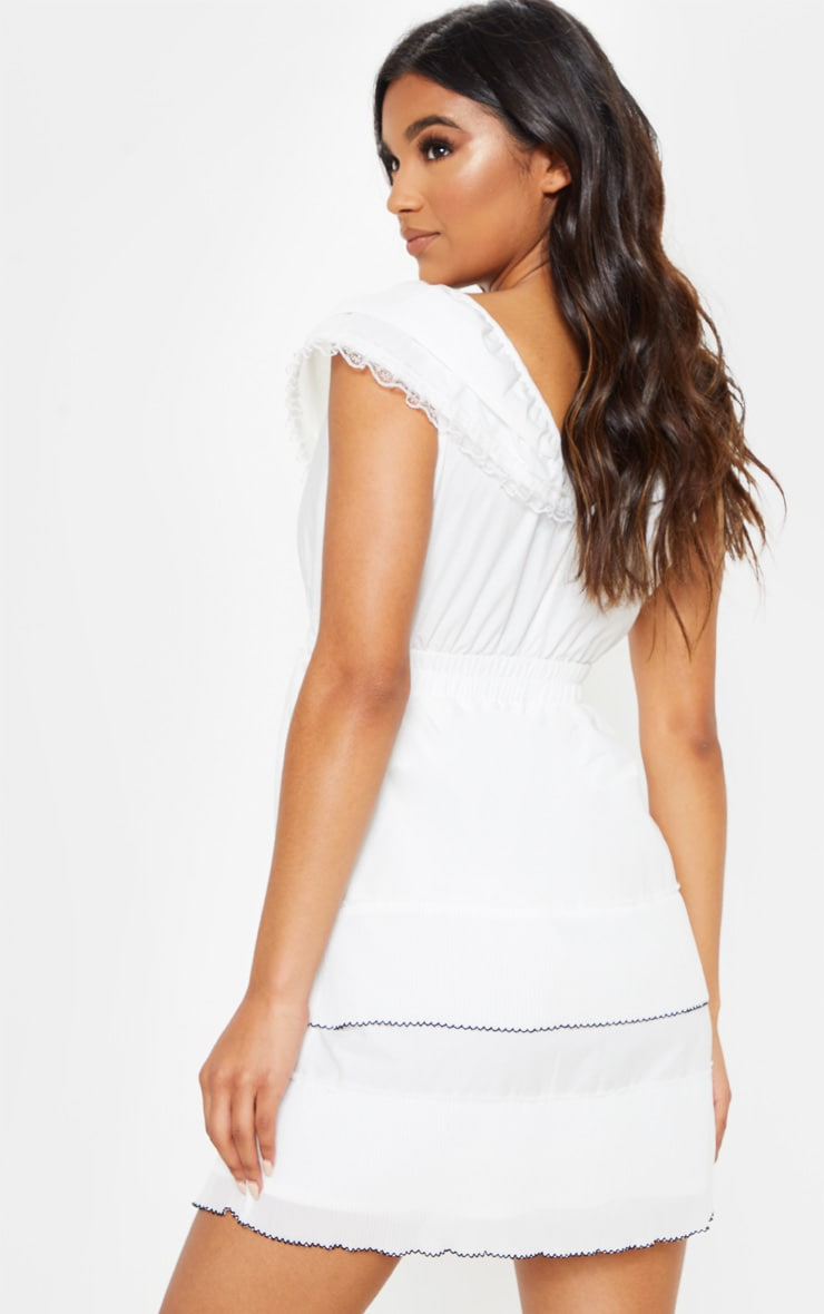 White Tiered Ruffle Shift Dress 2