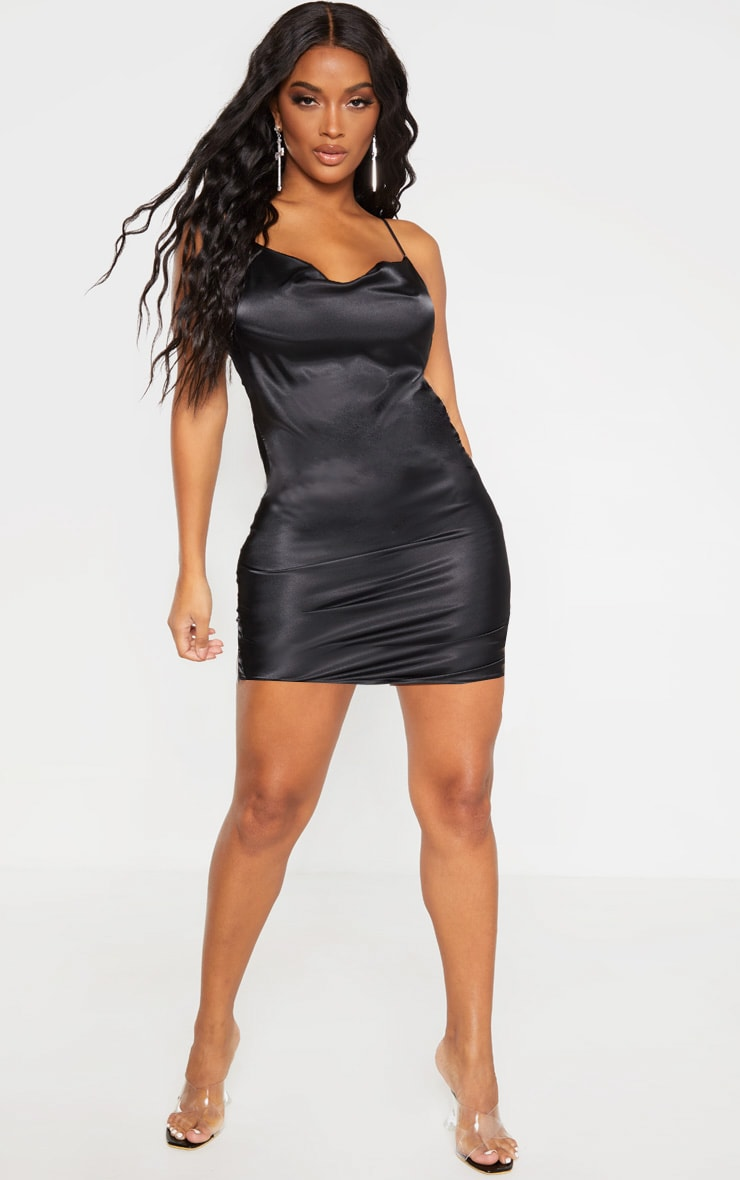 Shape Black Satin Cowl Neck Ruched Side Bodycon Dress 4