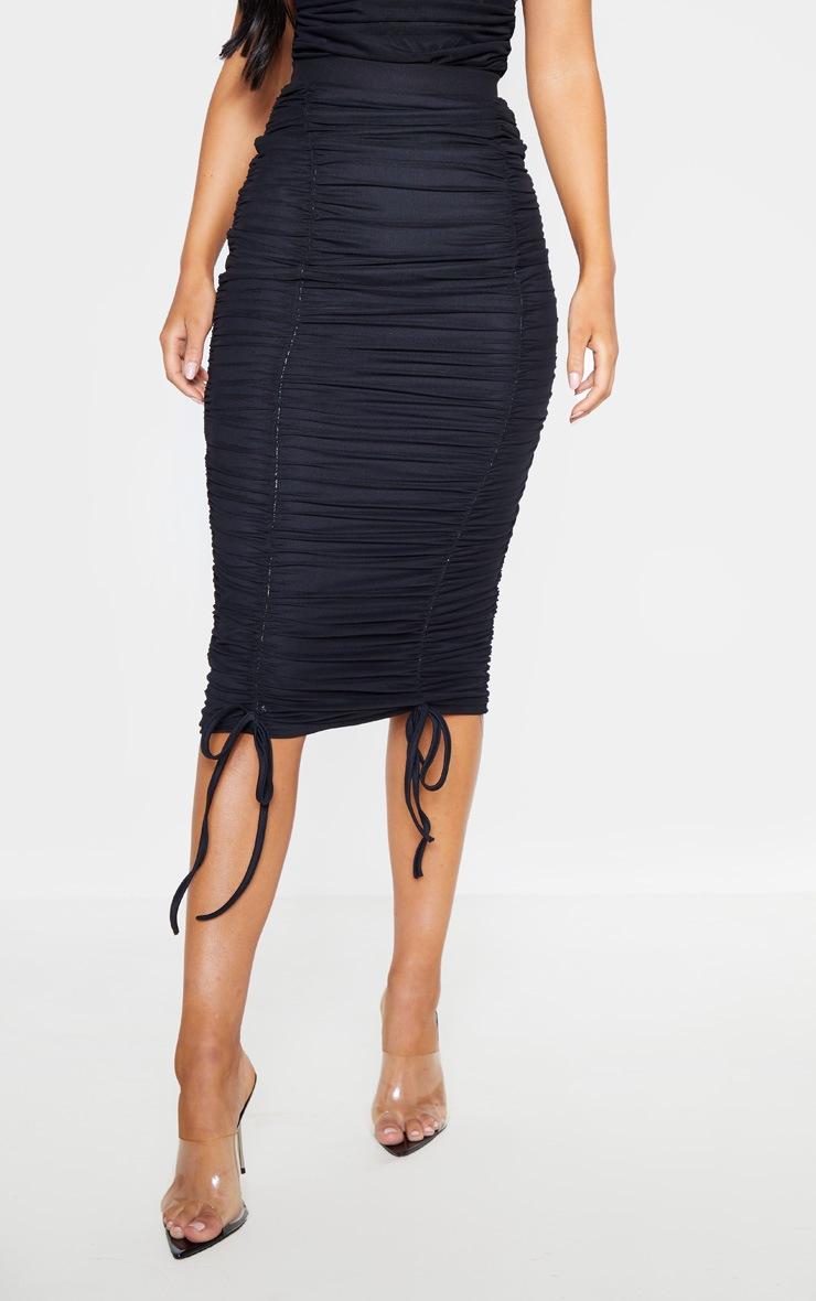 Black Mesh Ruched Detail Midi Skirt  2