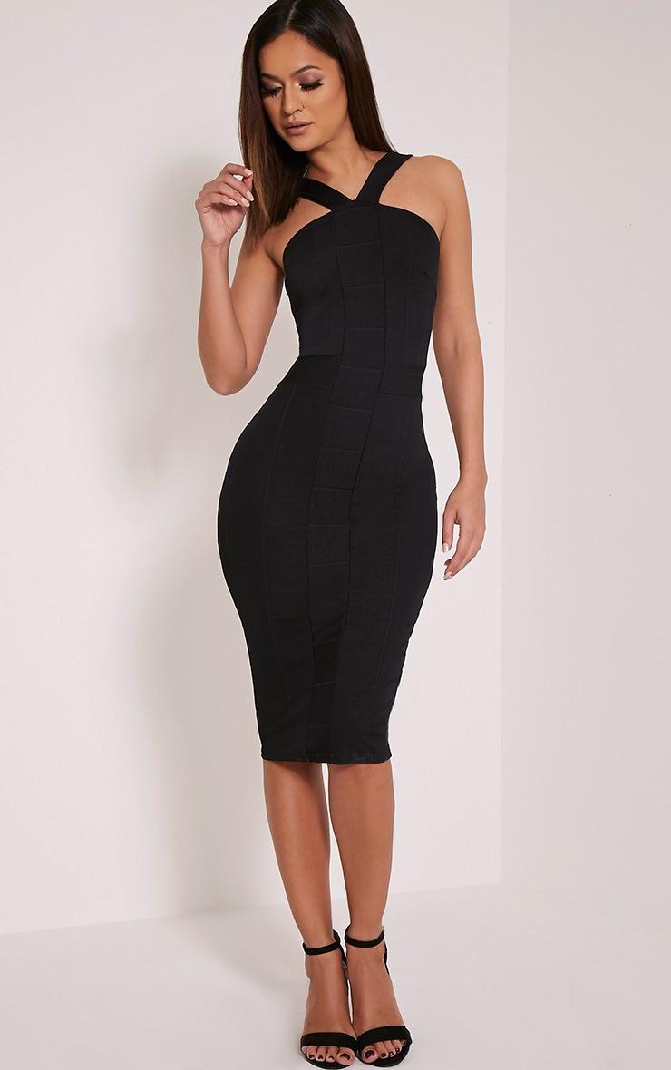 Meryl Black Bandage Strap Detail Bodycon Dress 5