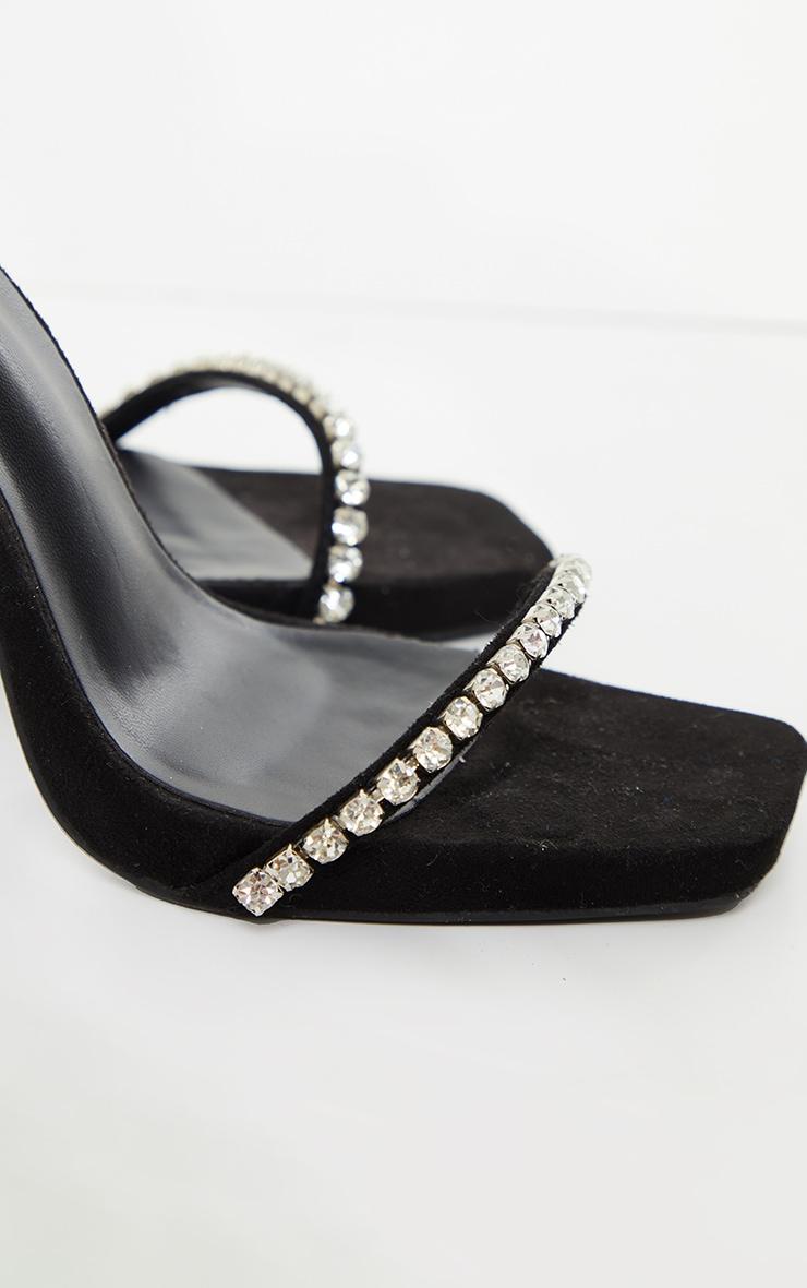 Black Faux Suede Diamante Strappy High Heels 3