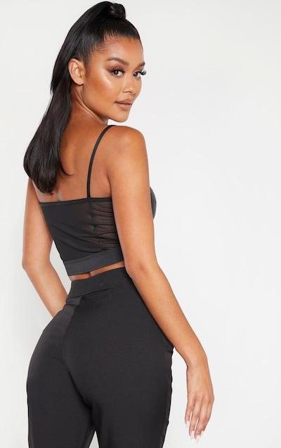 Black Strappy Sequin Crop Top