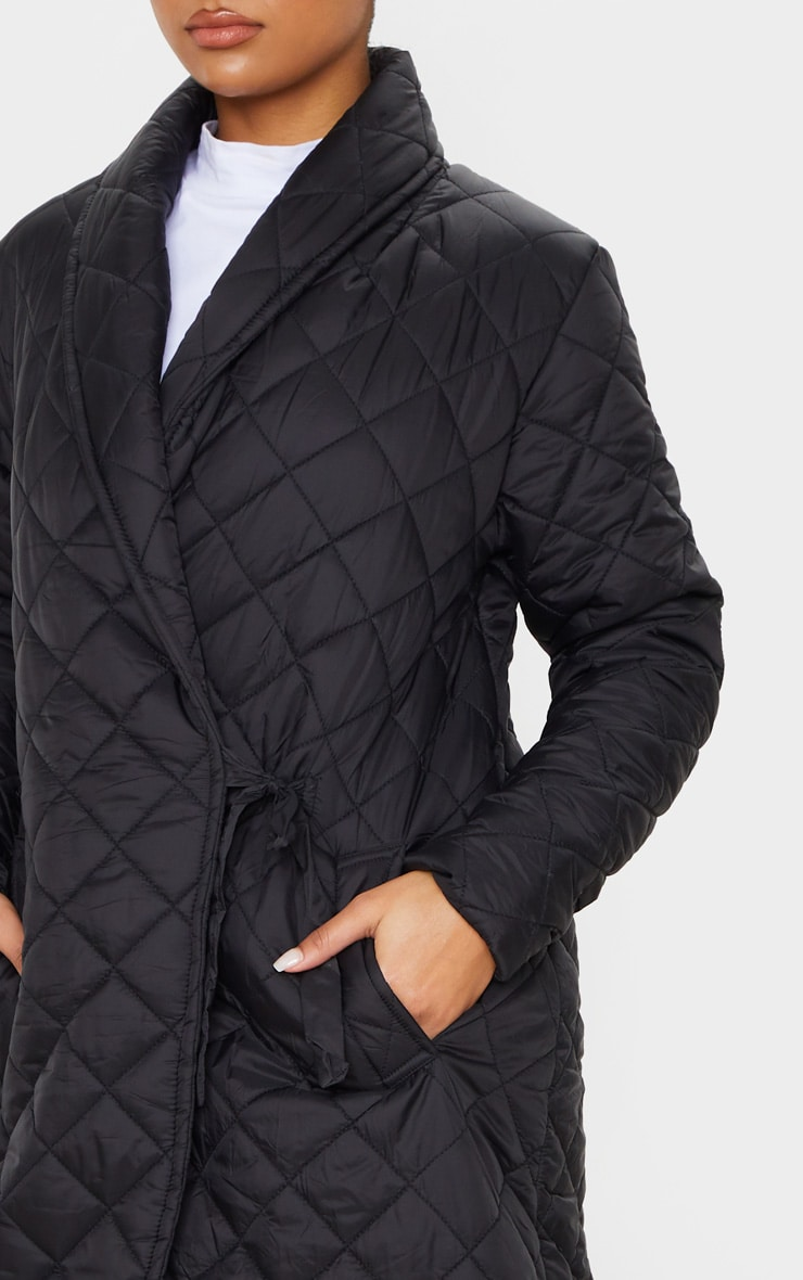 Black Quilted Side Tie Detail Longline Coat 5