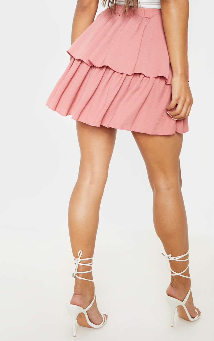 Dusty Pink Woven Frill Tiered Mini Skirt 4