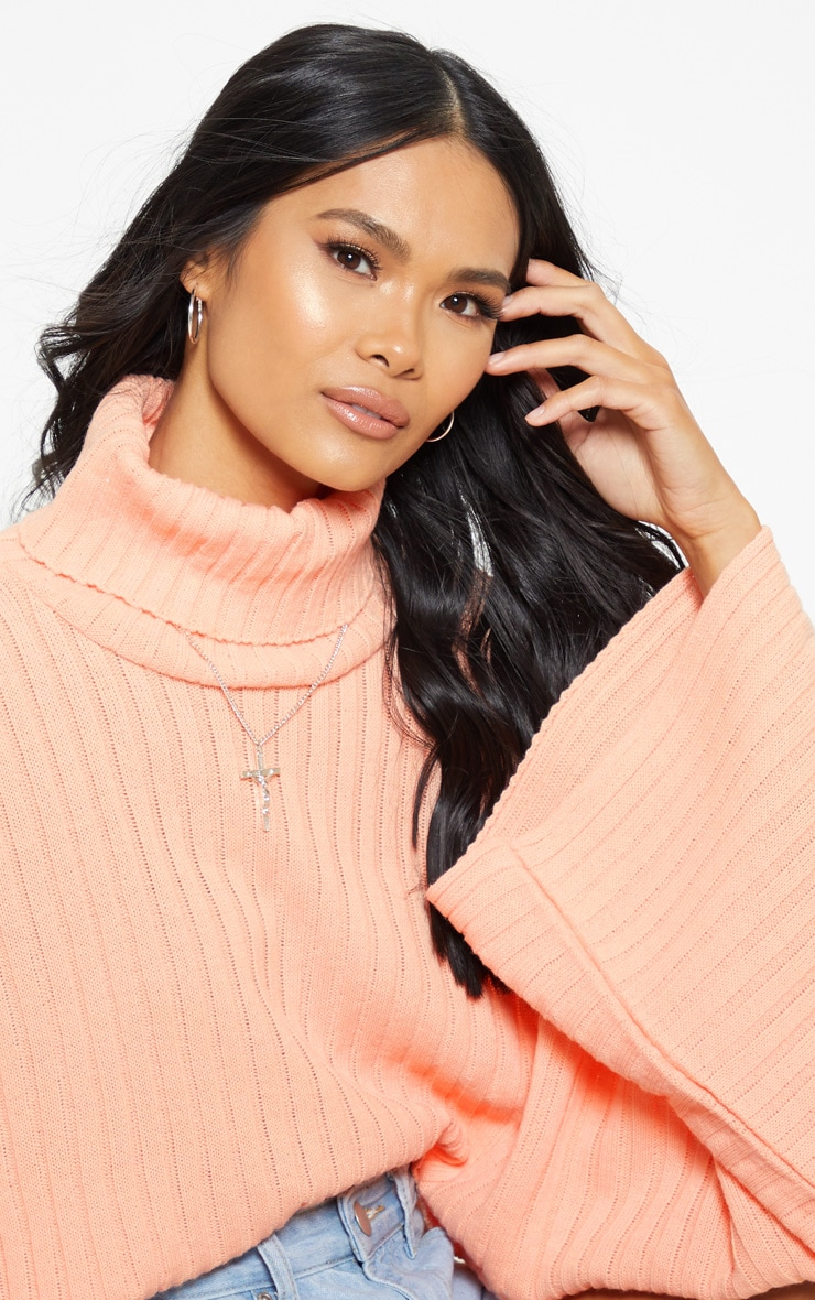 Peach Ribbed Knit High Neck Jumper  4