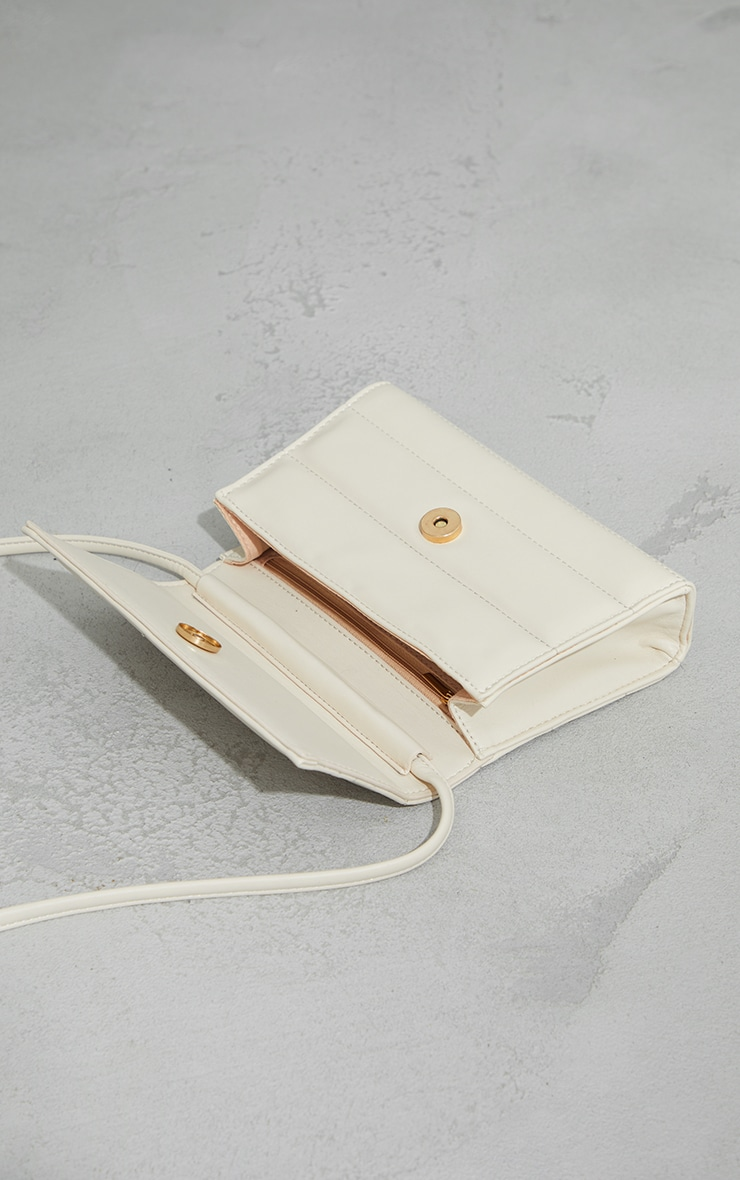 Cream Square Quilted Panel Cross Body Bag 4