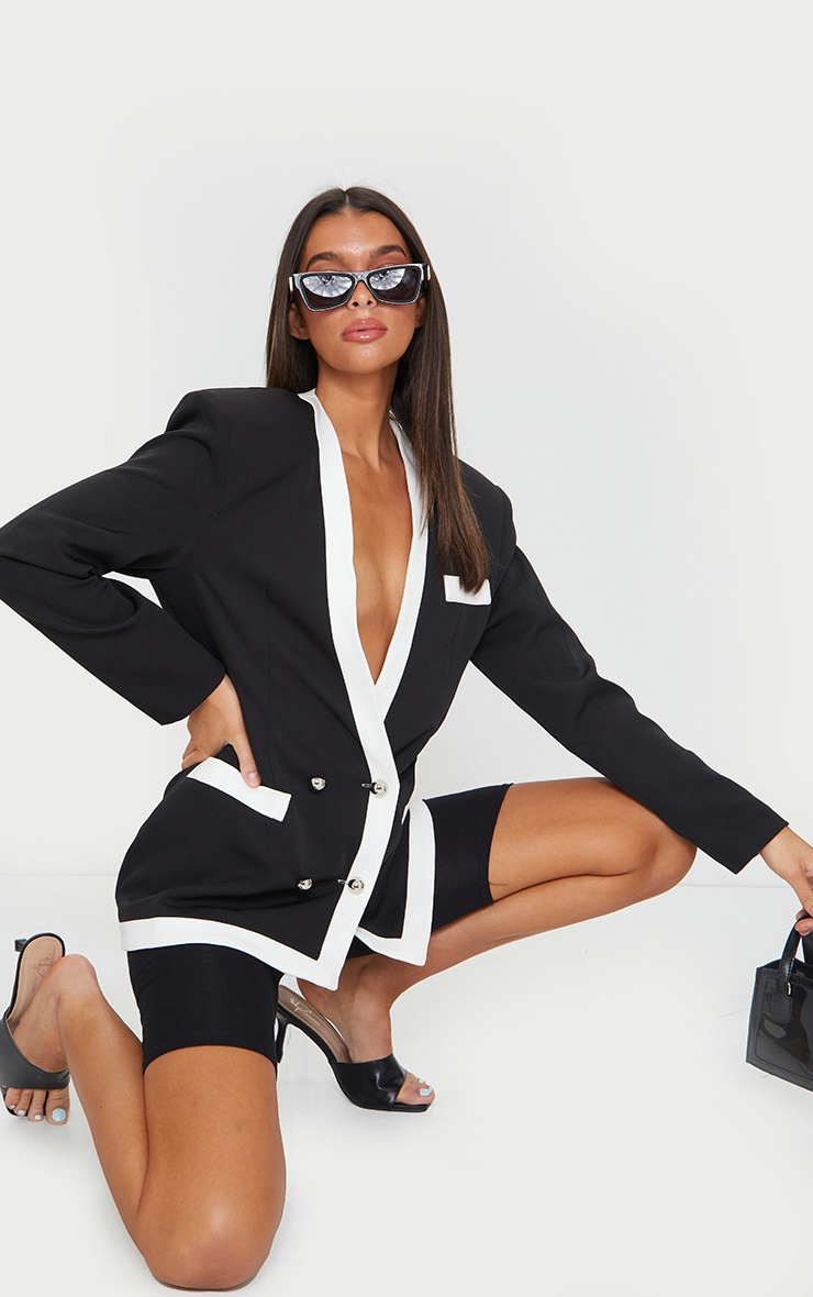 Black Military Contrast Oversized Blazer 1